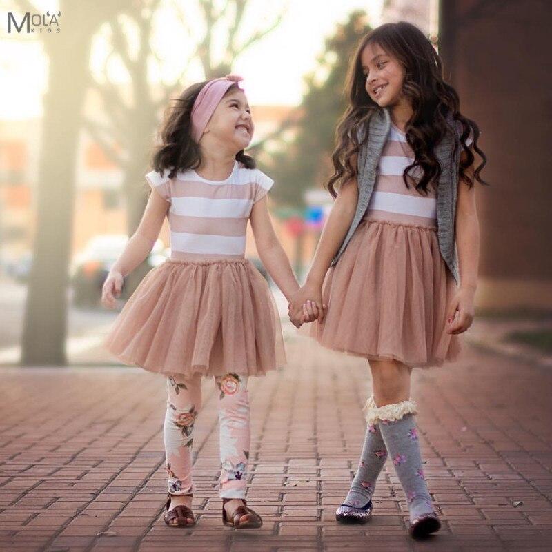 Cheap Clearance!! 2017 Toddler Girls Dresses Baby Summer Tutu Dresses Tulle Little Girls Ball Gorn Orange Striped Tutus