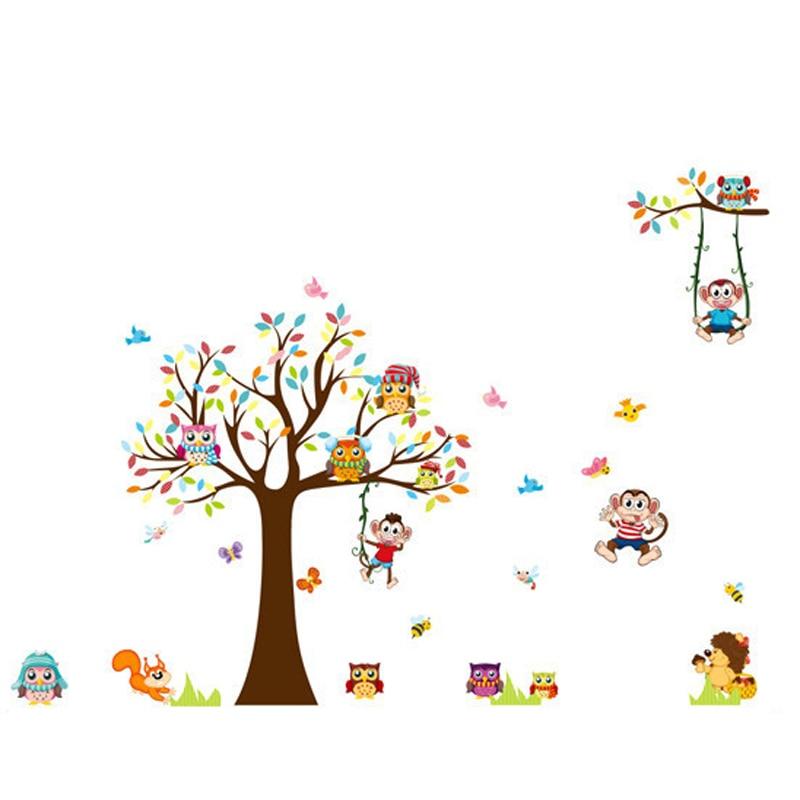 DIY Ağacları Meymun Bayquş Şirin Heyvan Divar Stikeri Uşaqlar - Ev dekoru - Fotoqrafiya 6