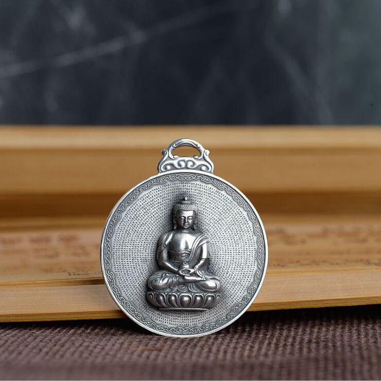 Real S990 solid sterling silver vintage craft Buddha pendant Buddhism Shurangama machine carving