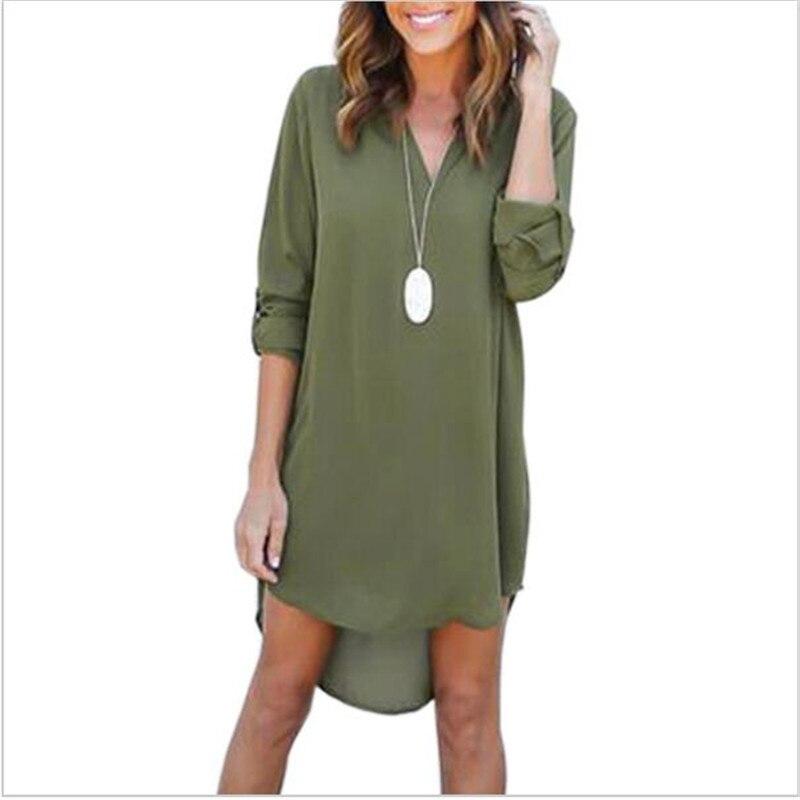 Di alta Qualità di Autunno Vestiti 2018 Donne di Modo Allentato Casuale Plus Size Abito Elegante Manica Lunga Irregolare Vestito Chiffon Abiti