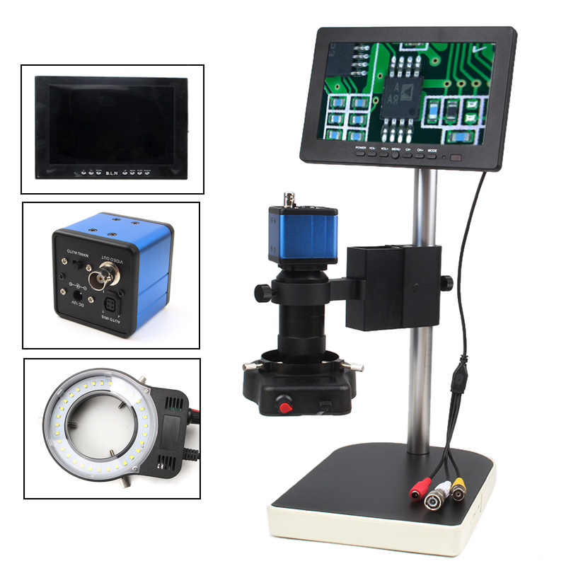 HD Digital Industrial Microscope Camera for Industry Lab VGA Video Output+7 LCD Monitor + 56 LED ring Light + Stand efix 2mp 7 tv lcd monitor digital camera microscope magnifier led light fix repair mobile cell phone pcb bga ic soldering tools
