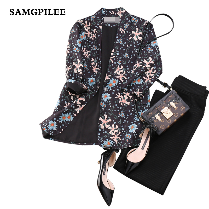2019 New Spring  Three Quarter Sleeve Print Single Button Notched collar Appliques Casual fashion women Blazers L-4XL
