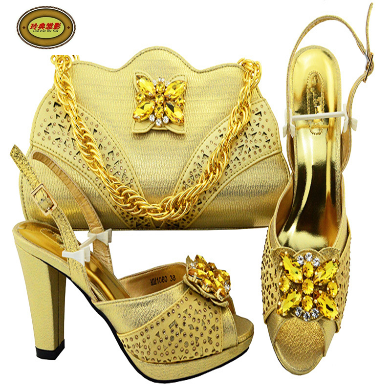 MM1060 Gold Most Popular gray Italian Shoes Matching Bag Set Fashion Lady Shoes High Heels With Stone Free Shipping the most popular gold detector