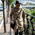 harajuku 2015 brand peacoat men military jacket men fashion medium-long slim trench coats long mens khaki coat turtleneck men