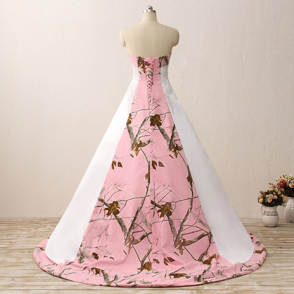 82bef116019 iLoveWedding Ball Gown Pink Camo Wedding Dresses Sleeveless Sweetheart Lace  Up Camouflage Embroidery Bride Bridal Gowns Custom -in Wedding Dresses from  ...