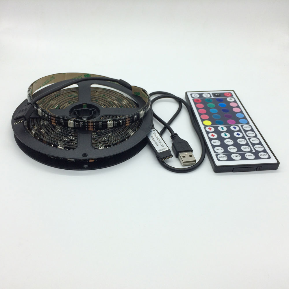 1M 2M 3m 4m 5m <font><b>USB</b></font> <font><b>LED</b></font> Strip Light 5V 5050 SMD Waterproof RGB Flexible <font><b>TV</b></font> Background Lighting Strip +Remote Controller