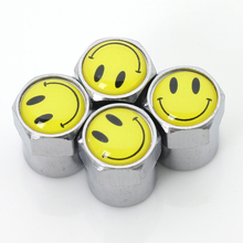 Smiley Face Tire Valves 4Pcs