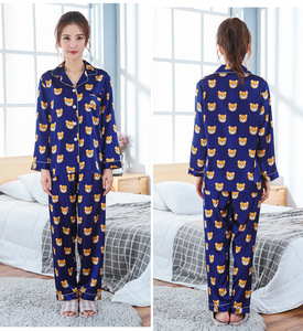 Image 5 - Nouveautés 2018 amoureux Pyjamas femmes soie Satin pyjama ensembles dessin animé ours Couple Pyjamas pour femmes ensembles de vêtements de nuit Pijama Mujer