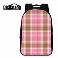 Dispalang Large Capacity Children Plaid Printing School Bag Women Fashion Notebook Backpack Casual Laptop Shoulder Bag