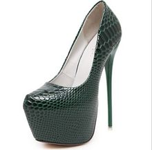 Size 4~9 Green Serpentine Green Women Shoes Platform Autumn High Heels Pumps zapatos mujer (Chenk Foot Length)
