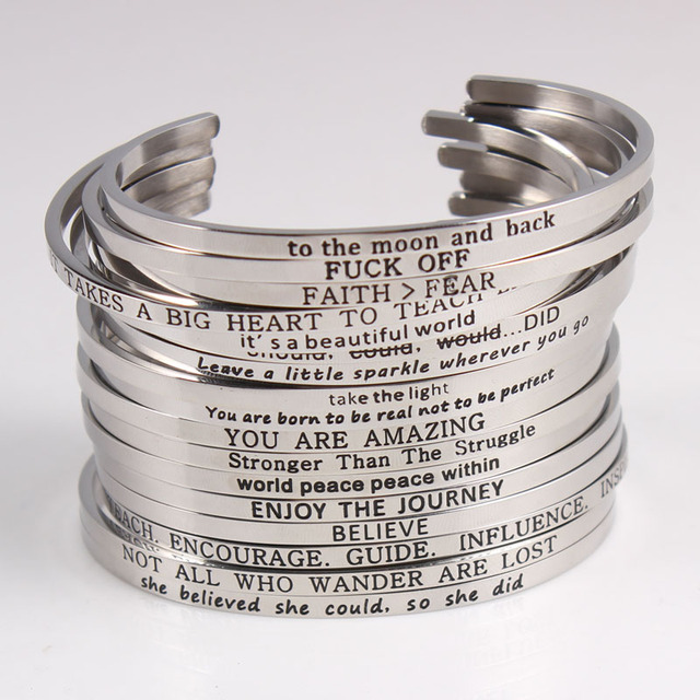 ffb5528d93da9 US $2.95 10% OFF|2017 Trend Custom Stainless Steel Bracelet Engraved  Positive Inspirational Quote Cuff Mantra Bangle For for couple lover Gifts  -in ...
