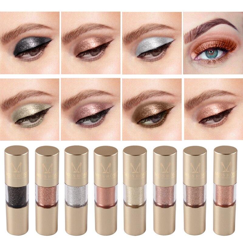 MISS ROSE 8 Colors Makeup Glitter Shining Eyeshadow Metal Liquid  Eye Shadow Single Color Nude Make Up Pigment Cosmetics TSLM2