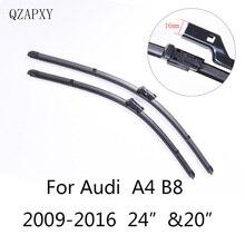 """Audi A4 B8 24 """"및 20"""" 용 와이퍼 블레이드 2009 2010 2011 2012 2013 2014 2016 자동차 용품 소프트 고무 자동차 앞 유리 와이퍼 블레이드"""