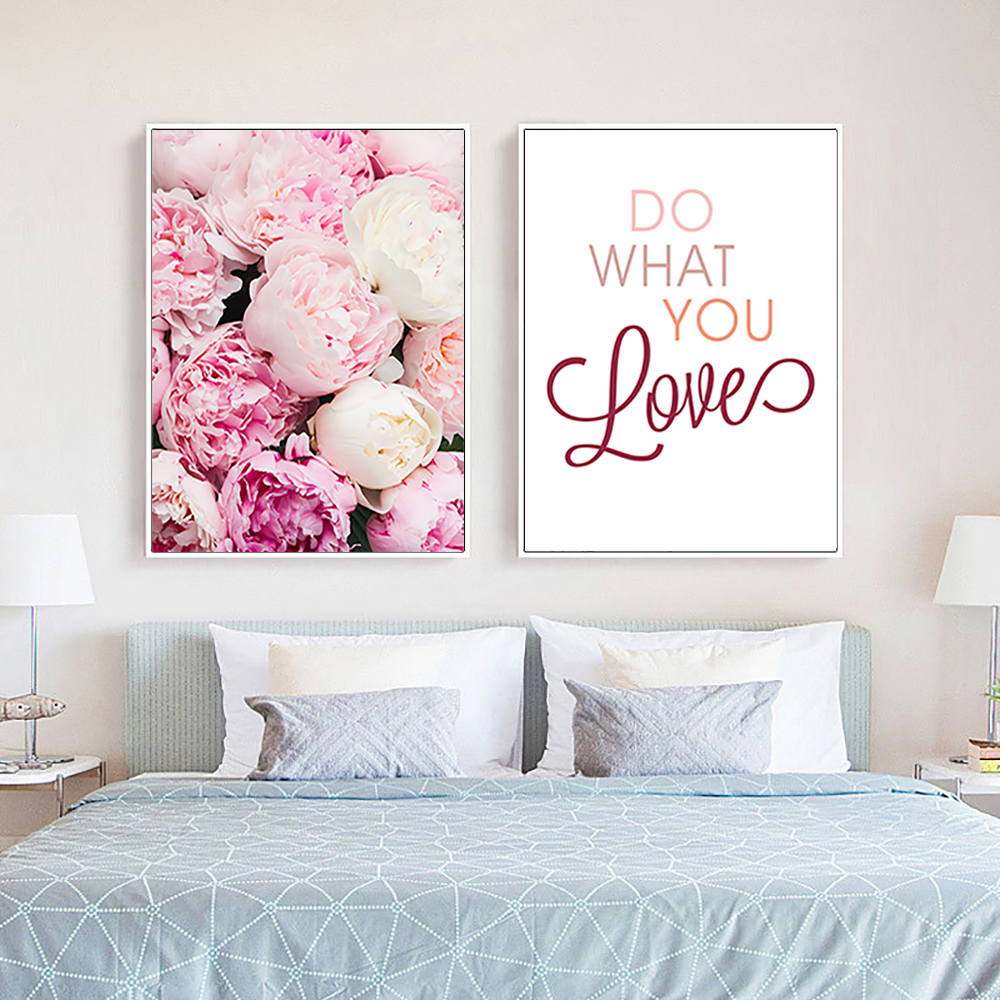 Romantic Pink Flower Canvas Art Painting Print Nordic Posters and Prints Modern Wall Pictures for Living Room Bedroom Unframed in Painting Calligraphy from Home Garden