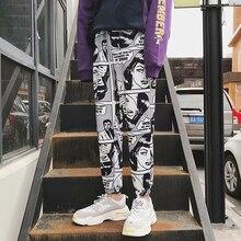 Kadın gevşek spor rahat pantolon ışın ayak Harem pantolon çizgi roman baskılı Joggers pantolon erkek Hip Hop günlük pantolon