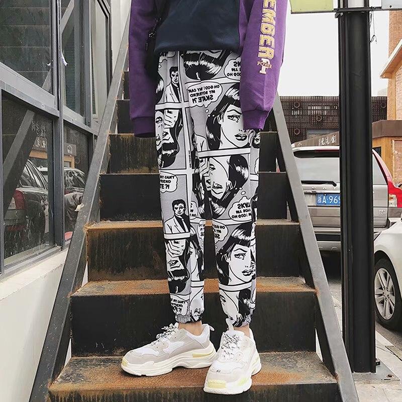 Women Loose Sports Casual Pants Beam Foot Harem Pants Comics Printed Joggers Pants Mens Hip Hop Casual Trousers