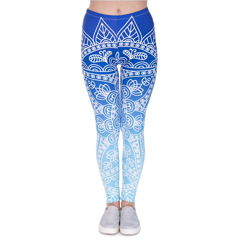 High Quality Women Legins Mandala Ombre Blue Printing Legging Fashion Casual High Waist Woman Leggings