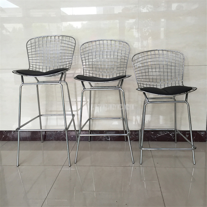 Minimalist Modern Wire Kitchen Bar Chair Stool Counter Chromed Iron Metal and PU Cushion Dining Chair 63/70/76/83cm Height free shipping dining stool bathroom chair wrought iron seat soft pu cushion living room furniture