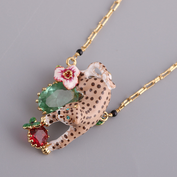 France Les Nereides Enamal Necklaces Leopard Flower Crystal Beautiful Glod Necklace For Women Lady Luxury Party