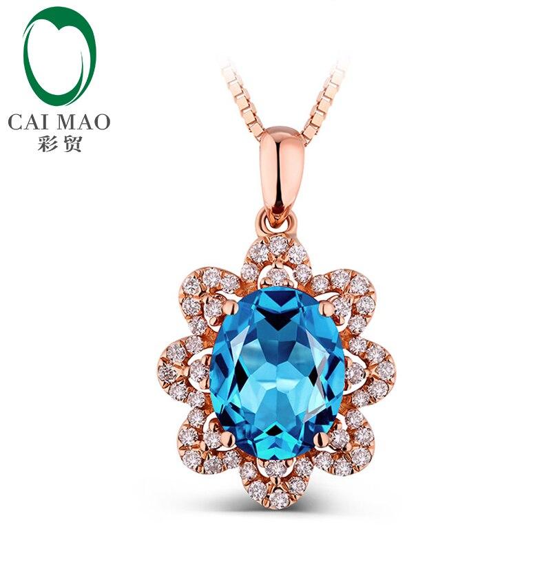 14k Rose Gold Natural Marquise Cut Blue Topaz & 0.23t Diamond Pendant Wholesale Jewelry