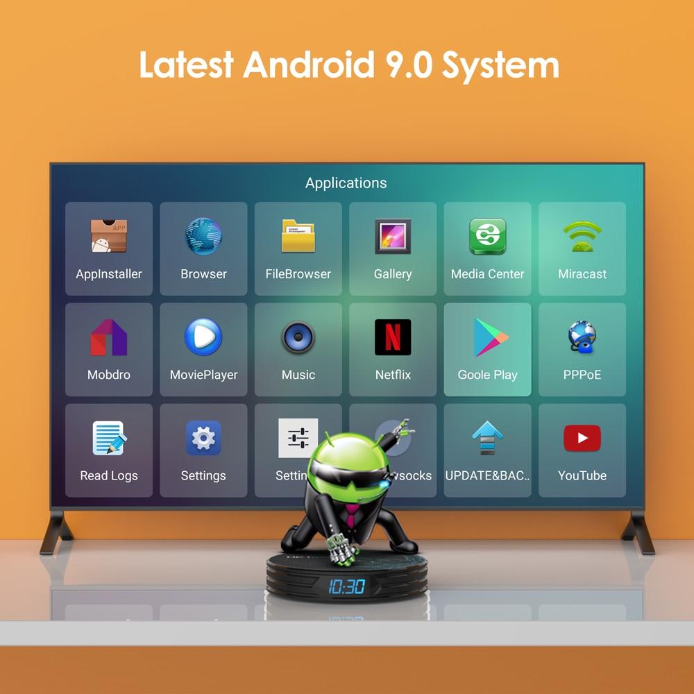 Bqeel TV BOX Android 9.0 Smart TV BOX HK1PLUS Amlogic S905X2 DDR4 4GB 64G Wifi TV Box Google Player 4K 3D Android TV décodeur - 2