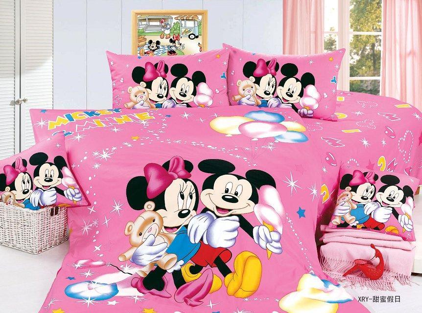 Mickey And Minnie Mouse Cartoon Bedding Sets Girls Bedroom Decor Single Twin Size Bed Sheets Quilt