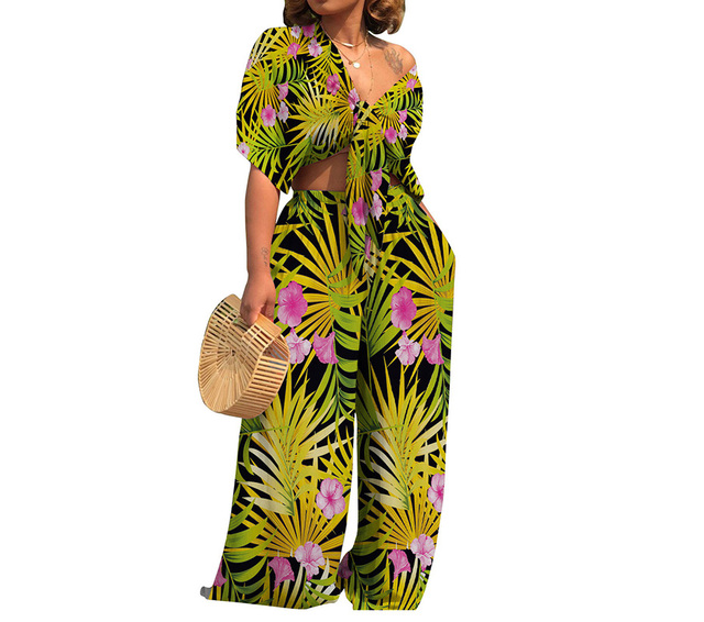 HAOOHU Plus Size Sexy Two Piece Set Women Outfits Bow Tie Tops+Wide Leg  Pants Suits Casual Clothes Floral Print Matching Sets ae1e343fea22