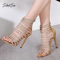 Silentsea Women Gladiator High Heel Sandals Sexy Shining Zipper Steel Tube Dancing Fluorescence Shine Shoes Nightclub Sandals