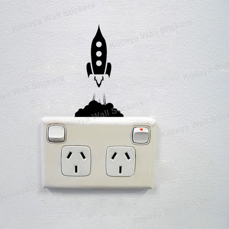 Rocket Ship Blasting Off Wall Sticker Light Switch Decal Eco friendly Vinyl  Wall Murals Art Home Decor Removable Wallpaper-in Wall Stickers from Home  ...