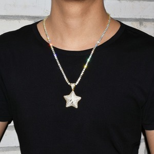 Image 4 - Cartoon Star Pendant Necklace Chain Charms Bling Cubic Zircon Mens Hip hop Jewelry Tennis Chain For Gift