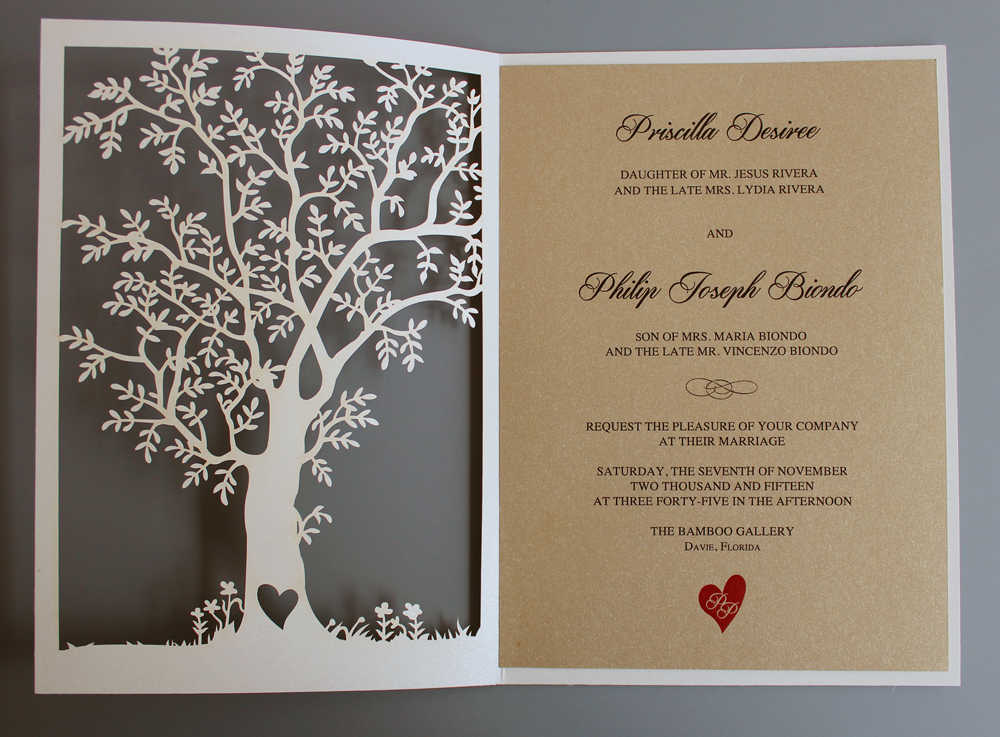 Detail Feedback Questions About Laser Cut Tree Wedding Invitation