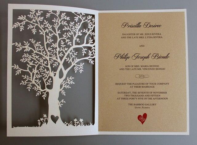 Lasergeschnittenen Baum Hochzeitseinladung, Herbst  Hochzeitseinladungskarten, Baum Hochzeit Einladen, Rustikale Hochzeit  Einladungen Set Von 50