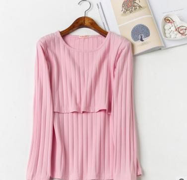 Cotton Screw Thread Nursing Tops 2018 Spring Autumn New Stylish Long Sleeved Breast Feeding Clothes for Pregnant Women WX950
