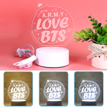 Hot KPOP BTS Bangtan Boys LED Table Lamp 3 Color Flash Changing Night Light Bedside Desk Lamp Lightstick ARMY BOMB Luminous Toys