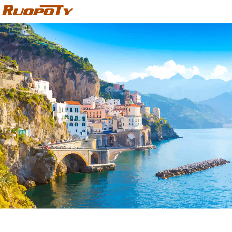 RUOPOTY Frame Diy Painting By Numbers Landscape Kit Acrylic Wall Art Picture By Numbers Canvas Painting RUOPOTY Frame Diy Painting By Numbers Landscape Kit Acrylic Wall Art Picture By Numbers Canvas Painting For Home Decoration Arts