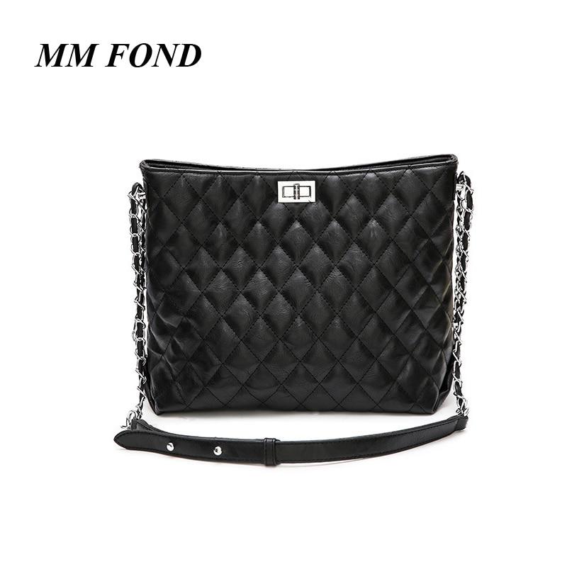 MM FOND PU leather women quilt design lady shoulder bag big size handbag high capacity women tote girls messenger bag a316