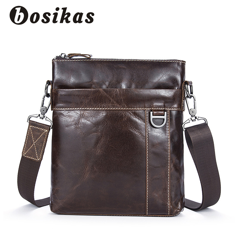 BOSIKAS Shoulder Bag Casual Crossbody Bags Leather Zipper Men Messenger Bags Fashion Flap Genuine Leather Solid Shoulder Bag Men the rushed casual polyester unisex zipper solid soft new spring and summer 2017 leather bags bag shoulder messenger retro ms