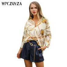 WPCZQVZA Bohemia Style Women Trendy Tops Female V-neck Golden Chain Printing Shirt Hot Sales Casual Loose Beach Woman Blouse(China)