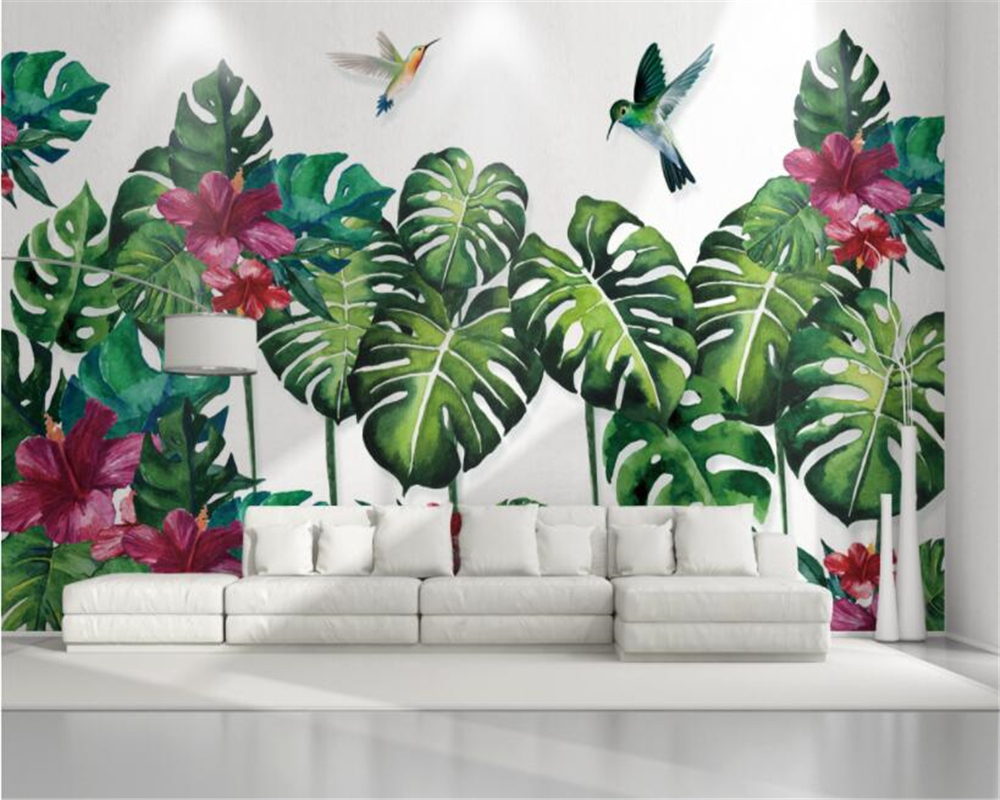Custom Wallpaper For Walls 3 D Original Forest Tropical Plant Hand
