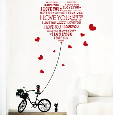 removable wall stickers cats love bicycle a new bedroom love English word TV setting wall sofa for home decor
