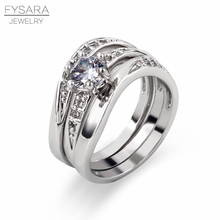 FYSARA Three For One Rings Set For Women Jewely 3 Layers Rings AAA Crystal Square Waves Ring Silver Color Party Finger Ring