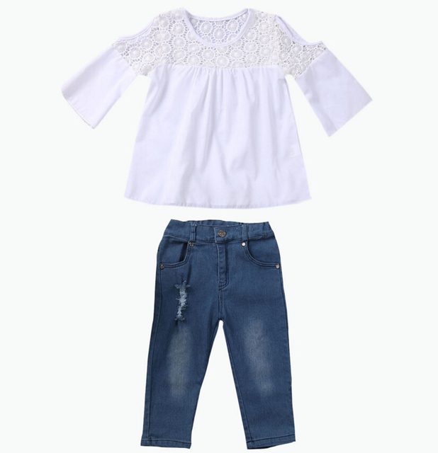 65efd2d10683 Tops T-Shirt Short Sleeve Denim Jeans Pants Cute Outfits Clothing Set  Toddler Baby Kids