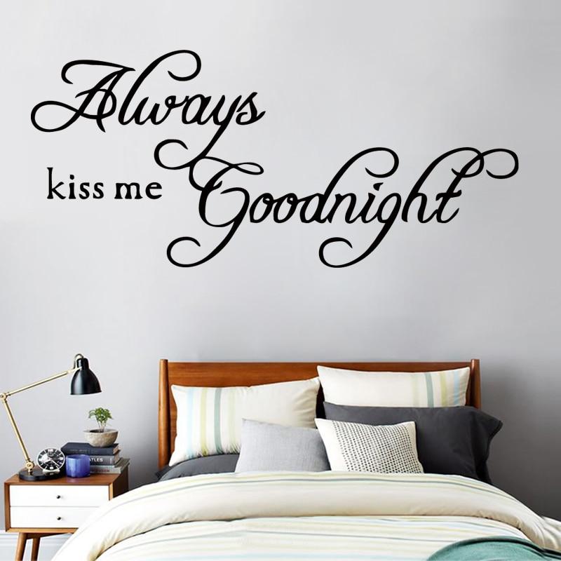 US $7.35 8% di SCONTO|ZN ZM20 Bacio Sempre Me Buonanotte Amore Romantico  Adesivi Murali Camera Da Letto Adesivo Home Decor Art Murale Quote Vinyl ...