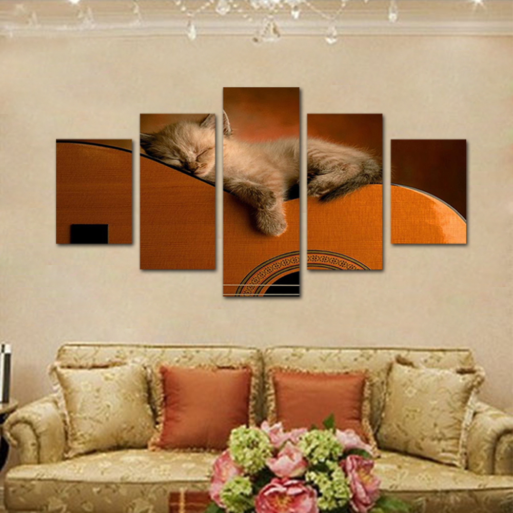 Unframed HD Print 5 Canvas Art Painting Sleeping Cat Living Room Decoration Animal Spray Painting Mural Free Shipping