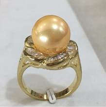 LL<<<New lady's gp inlay crystal flower shape 12mm yellow shell pearl fashion ring(China)