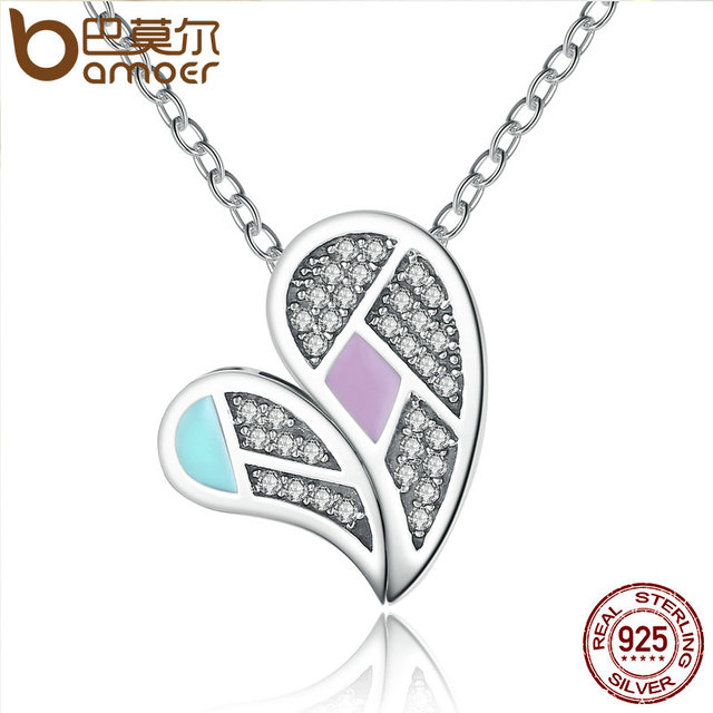 Sterling Silver Colourful Love Heart Forever Necklaces