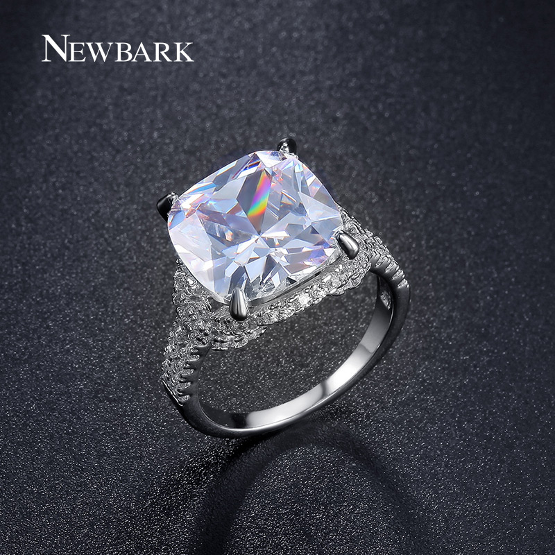 NEWBARK Luxury Solitaire Big 6 Carat Rings 4 Claws Prong Setting Cushion Cut Engagement Ring Jewelry Two Colors Size 5.5 to 9 instax two ring page 6
