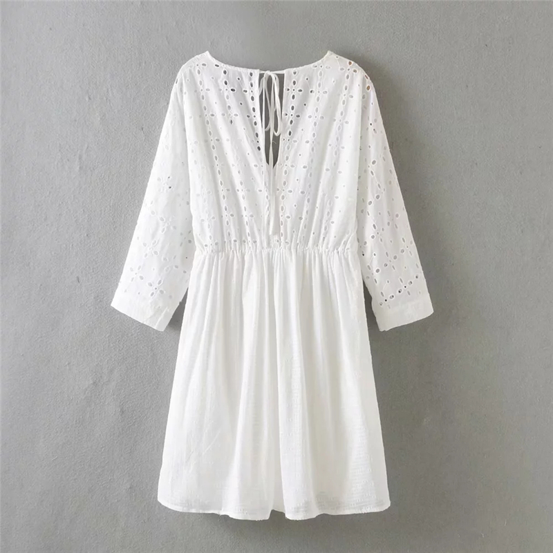 Women Summer Solid Lace Shirts Dress Hollow Full Sleeve Bohemian Blouse Shirts V Neck Embroidery Dresses Cotton Shirts with Tape in Blouses amp Shirts from Women 39 s Clothing