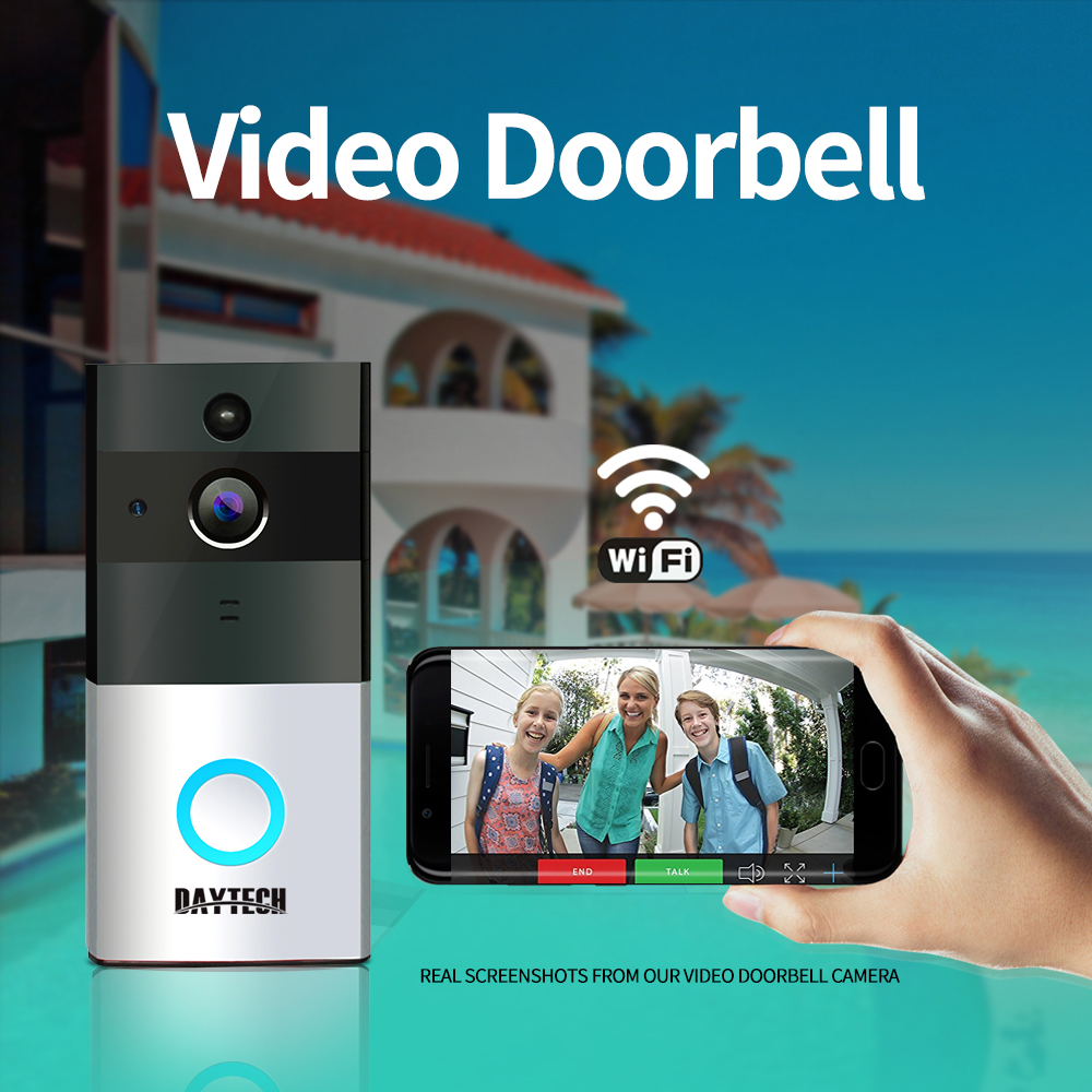 DAYTECH Wireless Video Doorbell Camera Wi-Fi 720P HD IP Camera PIR Motion Sensor Battery Power Wireless Door Bell Two Way AudioDAYTECH Wireless Video Doorbell Camera Wi-Fi 720P HD IP Camera PIR Motion Sensor Battery Power Wireless Door Bell Two Way Audio