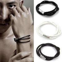 Comércio exterior europeu e Americano multilayer trançado Pulseiras torção homens estourou modelos pulseira cordão de couro pulseira de corda mão
